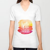 xbox V-neck T-shirts featuring Hello Summer by Text Guy