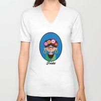 frida V-neck T-shirts featuring Frida by Juliana Motzko