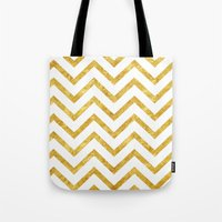 gold foil Tote Bags featuring Gold Foil Chevron by NeoQlassical
