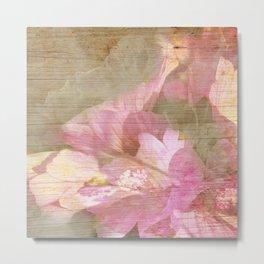 Pink Flower Burnt in Wood Metal Print