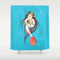 mermaid Shower Curtains featuring Mermaid by Freeminds