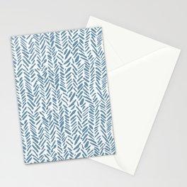 Sky blue and White Herringbone Pattern Stationery Cards
