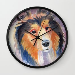 Shetland sheepdog coloristic Wall Clock