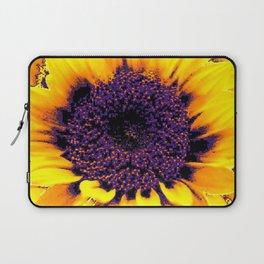 Purple Floral Center Of Butter Yellow Sunflower Laptop Sleeve