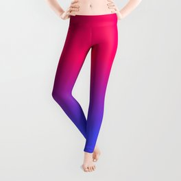 Neon Blue and Bright Neon Pink Ombré Shade Color Fade Leggings