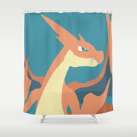 charizard Shower Curtains featuring Mega Charizard Y by Katherine Macdonald