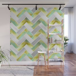 Parquetry in Watercolour - Acid Green Wall Mural