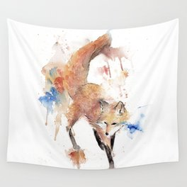 """Watercolor Painting of Picture """"Red Fox"""" Wall Tapestry"""