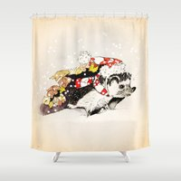 hedgehog Shower Curtains featuring HEDGEHOG by LILIOM GRAPHICS