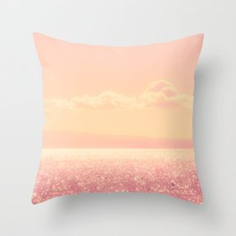 Dreamy Champagne Pink Sparkling Ocean Throw Pillow