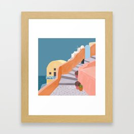 Santorini Pebble Stairs and Houses Framed Art Print
