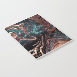 Metallic Rose Gold Marble Swirl Notebook