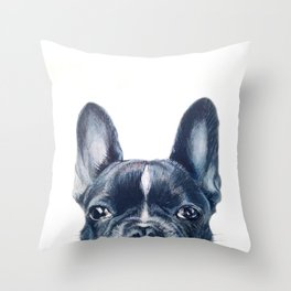 Hand painting French Bulldog Dog illustration original painting print Throw Pillow