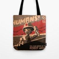 propaganda Tote Bags featuring Propaganda Series 6 by Alex.Raveland...robot.design.digital.art