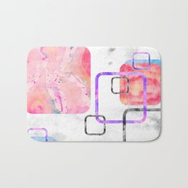 Watercolor Geometric Print Pattern Pink Contemporary Squares Bath Mat