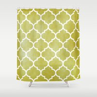 morocco Shower Curtains featuring MOROCCO - MUSTARD by pike design