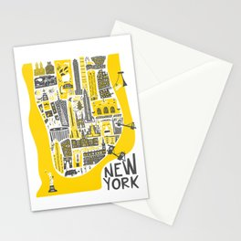 Manhattan New York Map Stationery Cards