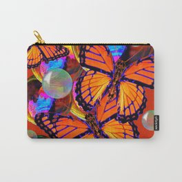 DECORATIVE MONARCH BUTTERFLIES & SOAP BUBBLES  ON TURMERIC  COLOR ART Carry-All Pouch