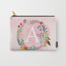 Flower Wreath with Personalized Monogram Initial Letter A on Pink Watercolor Paper Texture Artwork Carry-All Pouch