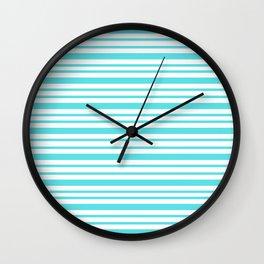 Beach Retro Turquoise Stripe Graphic Wall Clock