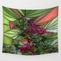 glass Wall Tapestries featuring Pink and Green Glass by BeachStudio