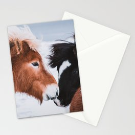 Icelandic Horses in Winter Landscape of Iceland Stationery Cards