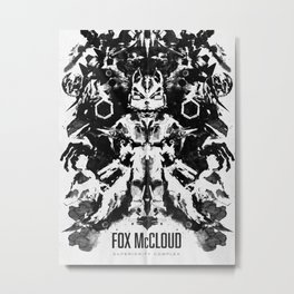 Fox McCloud Star Fox Inspired Geek Psychological Inkblot Metal Print