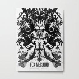 Fox McCloud Star Fox Inspired Geek Psychological Inkblot Metal Print