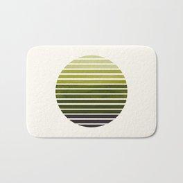 Olive Green Mid Century Modern Minimalist Scandinavian Colorful Stripes Geometric Pattern Round Circ Bath Mat