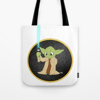 yoda Tote Bags featuring Yoda by alittlecartoonie