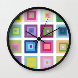 Colour Fields Squares Colorful Abstract Modern Art Wall Clock