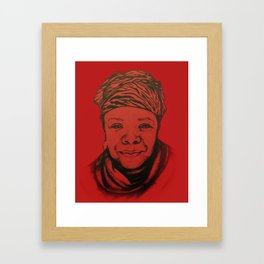 Maya Angelou - (red) Original Sketch to Digital Framed Art Print