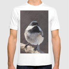 Chickadee with Texture MEDIUM Mens Fitted Tee White