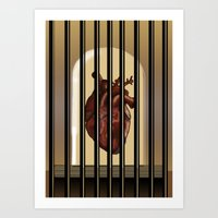 heart in cage Art Print