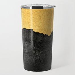 Black Grunge & Gold texture Travel Mug