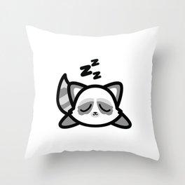 Cute Sleeping Raccoon Kawaii Style Throw Pillow
