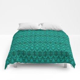 Cyan Damask Pattern Comforters
