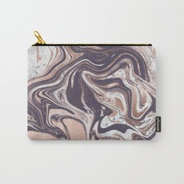 Liquid Rose Gold Violet and Marble Carry-All Pouch