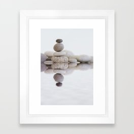 Stone Balance pebble cairn and water Framed Art Print