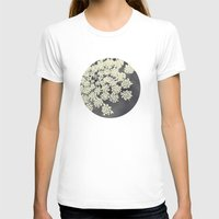 black white T-shirts featuring Black and White Queen Annes Lace by Erin Johnson