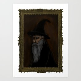 Dark Wizard portrait framed, white background Art Print