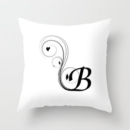 black and white B letter with design Throw Pillow