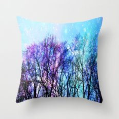 Black Trees Playful Pastels Space Throw Pillow