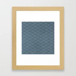 Blue Indigo Denim Waves Framed Art Print