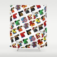 super heroes Shower Curtains featuring Super Heroes by nobleplatypus