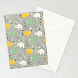 Seamless pattern with cute baby buffaloes and native American symbols, gray Stationery Cards