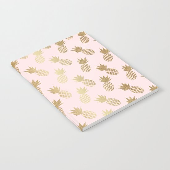 Pink & Gold Pineapples Pattern by tanyalegere
