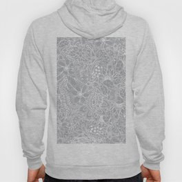 Modern trendy white floral lace hand drawn pattern on harbor mist grey Hoody