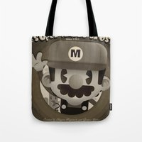mario bros Tote Bags featuring Mario Bros Fan Art by danvinci