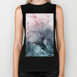 Blush and Paynes Gray Flowing Abstract Reflect Biker Tank